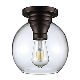 Jonathan Y Atlas Orb Flush-Mount Ceiling Fixture with Glass Shade