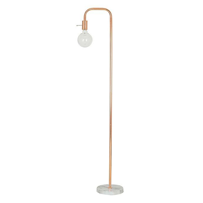 Alternate image 1 for Modern Faux Marble LED Floor Lamp in White/Rose Gold