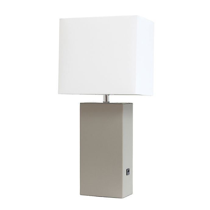 Alternate image 1 for Elegant Designs Modern Leather Table Lamp With USB Port