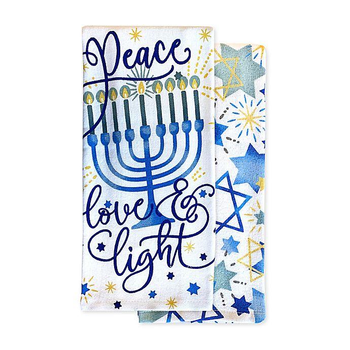 Alternate image 1 for Peace Love Light 2-Pack Hanukkah Kitchen Towels