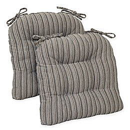Brentwood Originals Huntington Memory Foam Oversized Chair Pads in Grey (Set of 2)