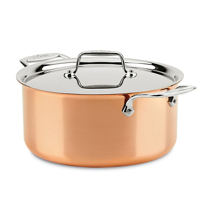 Alternate image 1 for All-Clad C4 Copper 8 qt. Covered Stock Pot