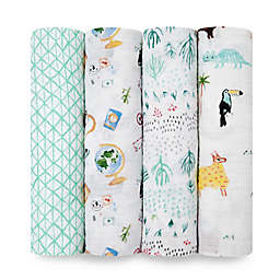 aden + anais® Around the World Swaddle Blankets in Mint (Set of 4)