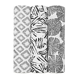 """aden + anais® 3-Pack """"Wedges in Motion"""" Swaddle Blankets in Black"""