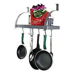 RACK-IT-UP! 24-Inch Bookshelf Pot Rack with 8 Hooks in Grey