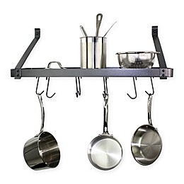 RACK-IT-UP! 30-Inch Straight Arm Wall-Mount Bookshelf Pot Rack with Hooks