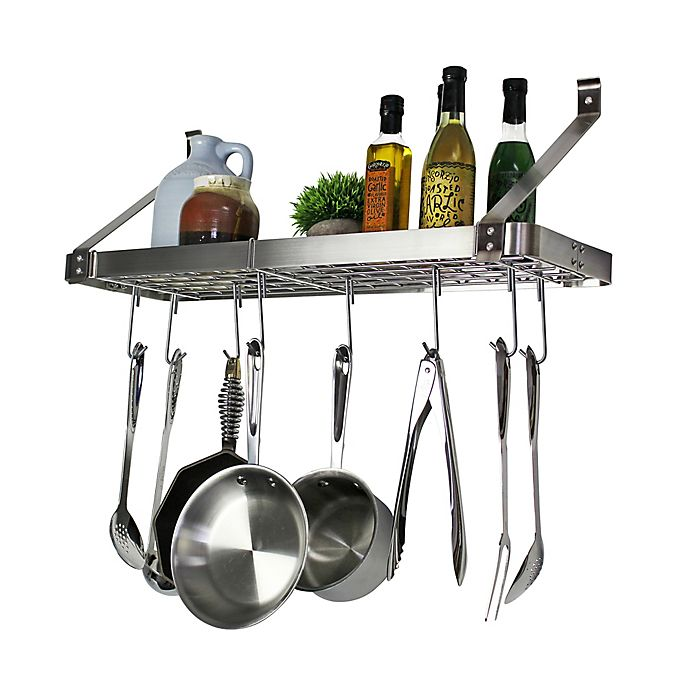 Alternate image 1 for RACK-IT-UP! 24-Inch Straight Arm Wall-Mount Bookshelf Pot Rack with Hooks
