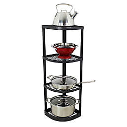 RACK-IT-UP! 4-Tier Corner Stand Pot Rack in Steel Grey