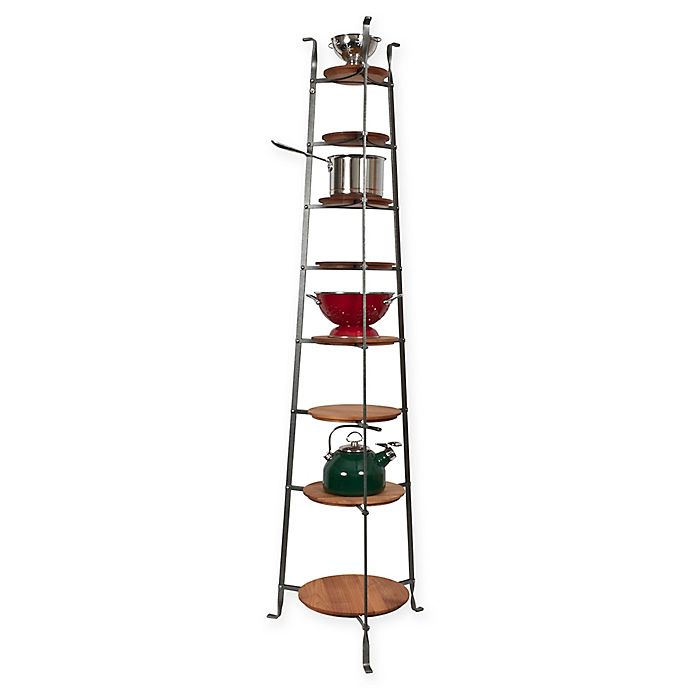 Enclume® 8-Tier Hammered Steel Standing Pot Rack with ...