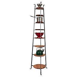 Enclume® 8-Tier Hammered Steel Standing Pot Rack with Alder Shelves