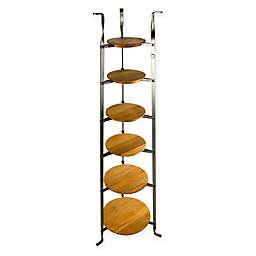 Enclume® 6-Tier Hammered Steel Standing Pot Rack with Alder Shelves