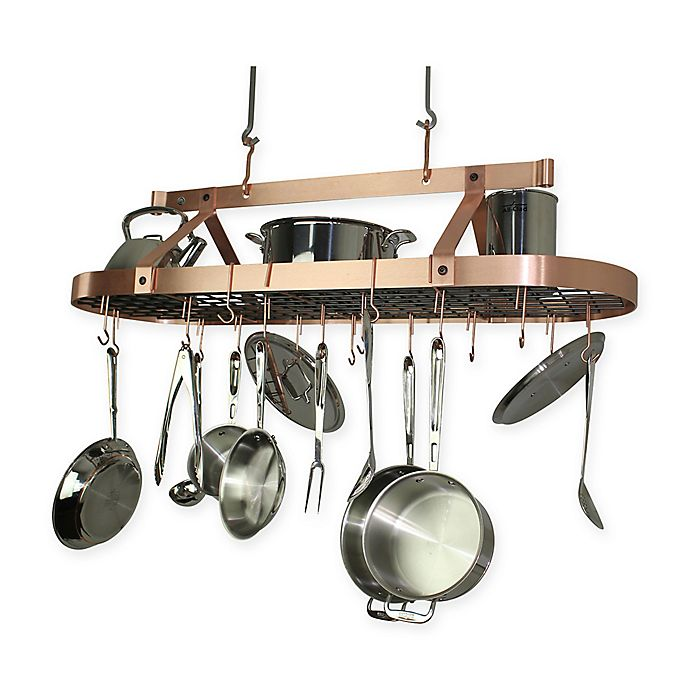 Enclume® 48-Inch Oval Hanging Pot Rack in Brushed Copper ...