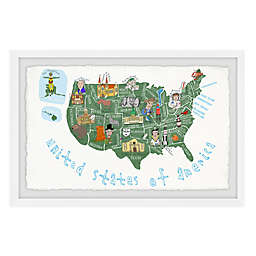 Marmont Hill White United States of America Map 45-Inch x 30-Inch Framed Wall Art