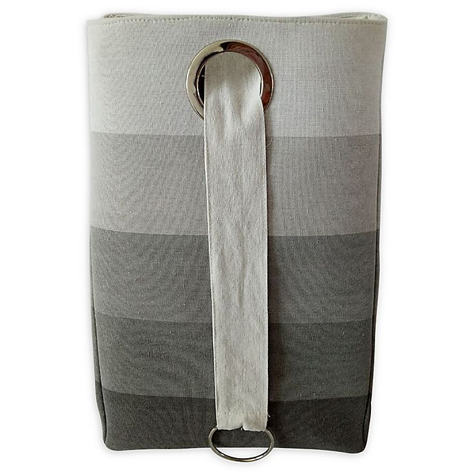Alternate image 1 for Bee & Coco Collapsible Hamper in Grey Ombre Stripe
