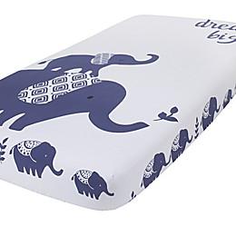 NoJo® Hues Elephant Fitted Crib Sheet in Indigo
