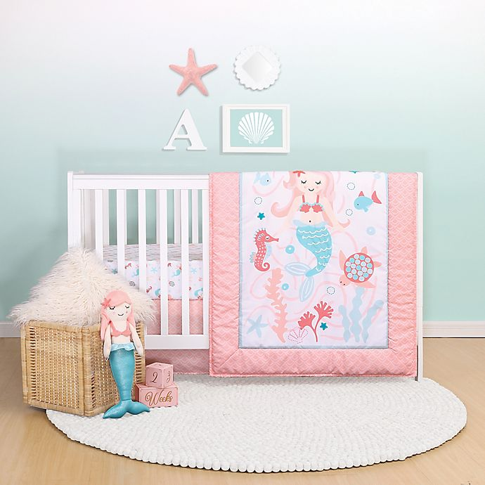 Alternate image 1 for Belle Mermaid Kisses Reversible 4-Piece Crib Bedding Set