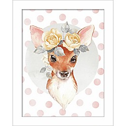 Linden Ave Deer with Flowers 10-Inch x 8-Inch Wood Wall Art
