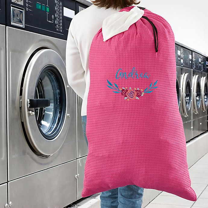 Alternate image 1 for Floral Embroidered Laundry Bag