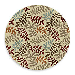 Concord Global Leafs 5-Foot 3-Inch Round Rug in Ivory