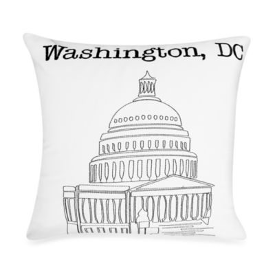 Passport Postcard Washington D C Square Throw Pillow In Black White Bed Bath And Beyond Canada