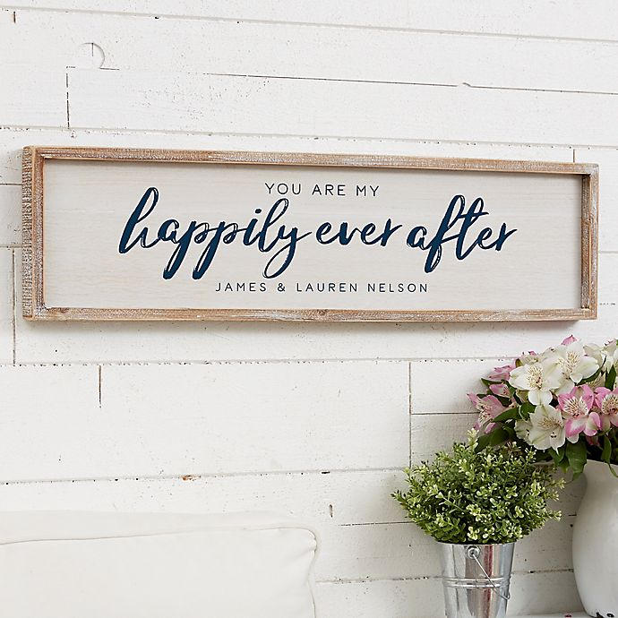 Alternate image 1 for You Are My Happily Ever After Personalized 30-Inch x 8-Inch Barnwood Frame Wall Art