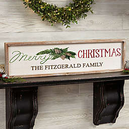Merry Christmas Personalized 30-Inch x 8-Inch Barnwood Frame Wall Art