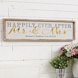 Wedded Bliss Personalized 30-Inch x 8-Inch Barnwood Frame Wall Art