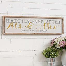 Wedded Bliss Personalized 30-Inch x 8-Inch Barnwood Frame Wall Art