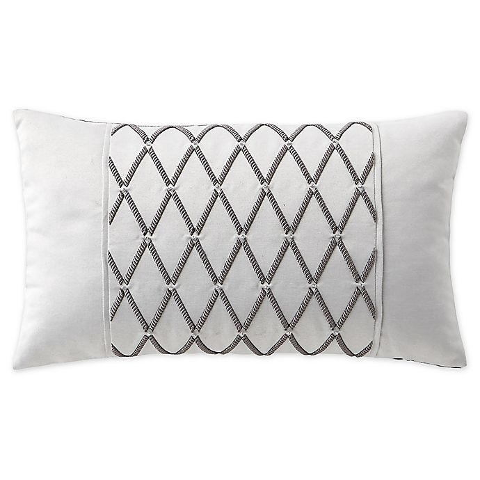 Alternate image 1 for Waterford® Aidan Embroidered Oblong Throw Pillow in Gunmetal