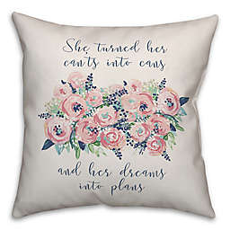 """Designs Direct """"Dreams Into Plans"""" Square Throw Pillow in Pink"""