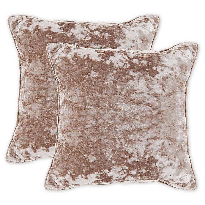 Alternate image 1 for Crushed Velvet Square Throw Pillow in Green (Set of 2)