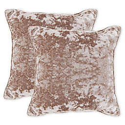 Crushed Velvet Square Throw Pillow in Green (Set of 2)