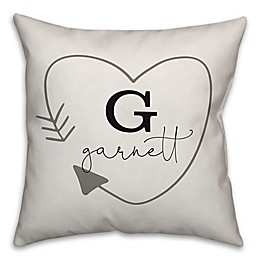 Designs Direct Simple Heart Arrow 18-Inch Square Throw Pillow