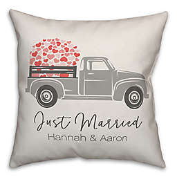"""Designs Direct """"Just Married"""" Truck Square Throw Pillow in Grey"""