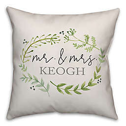 Designs Direct Watercolor Greenery Wreath Square Throw Pillow in Green