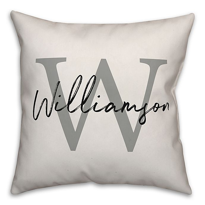 Alternate image 1 for Designs Direct Monogram Script Square Throw Pillow in Grey