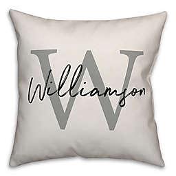 Designs Direct Monogram Script Square Throw Pillow in Grey