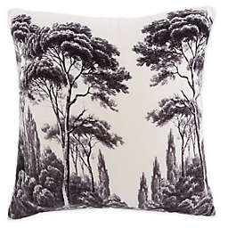 Ulysses Tree Printed Square Throw Pillow in Off White/Charcoal