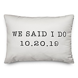 "Designs Direct ""We Said I Do"" Oblong Throw Pillow in Black"