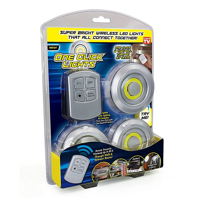 Alternate image 1 for UOTOO One Click Lites 3-Pack COB-LED Utility Light in Silver