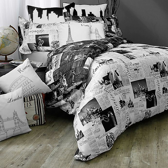 Passport London And Paris Reversible Duvet Cover Set In Blackwhite