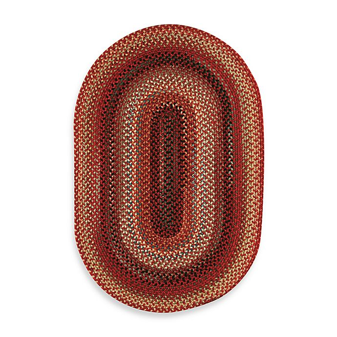 Alternate image 1 for Capel Portland Oval Indoor Braided Rug - Red