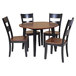 Caroline 5-Piece Dining Set with Drop-Leaf Table in Light Cherry/Black