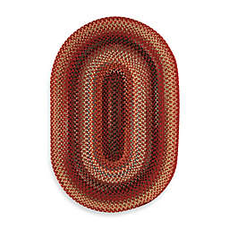 Capel Rugs Portland Vertical Stripe 1'8 x 2'6 Oval Rug in Red