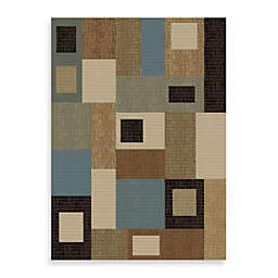 Concord Global Rectangles Blue 7-Foot 10-Inch x 10-Foot 10-Inch Rug