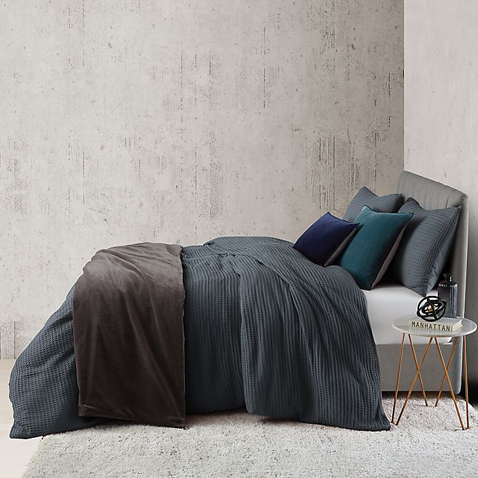 Alternate image 1 for O&O by Olivia & Oliver™ Waffle 2-Piece Twin Duvet Cover Set in Slate