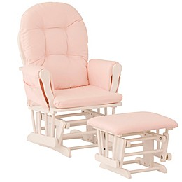 Storkcraft™ Hoop Glider and Ottoman Set in White/Pink