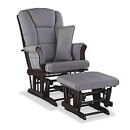 Storkcraft Tuscany Glider and Ottoman Set in Espresso/Grey