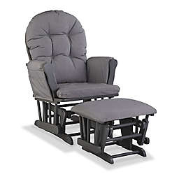 Storkcraft Hoop Glider and Ottoman Set in Grey Swirl