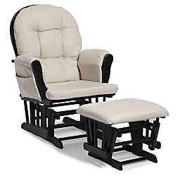 Storkcraft™ Hoop Glider and Ottoman Set in Black/Beige
